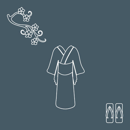 unusual: Cute illustration of branch of cherry blossoms and traditional japanese clothing and shoes. Set of Japan traditional design elements. Illustration