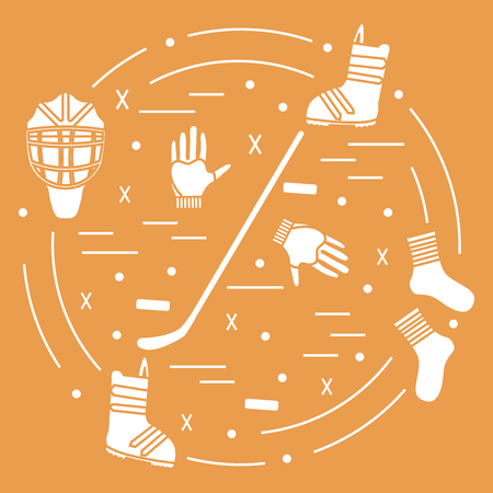 Vector illustration of various subjects for hockey and snowboarding arranged in a circle. Including icons of helmet, gloves, stick, puck, socks, snowboard boots.