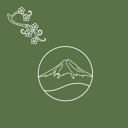unusual: Cute illustration of branch of cherry blossoms and mount Fuji. Set of Japan traditional design elements.
