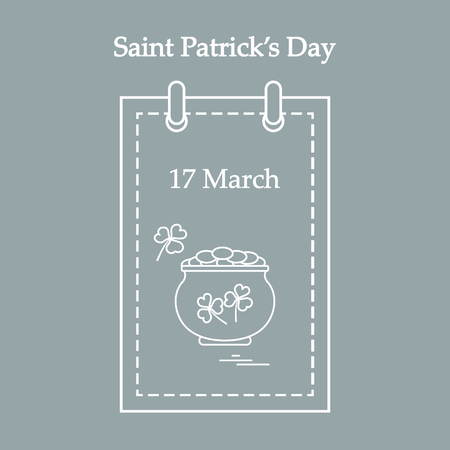 boiler: Cute vector illustration: calendar with a pot full of gold coins and clover for St. Patricks Day. Design for banner, poster or print.