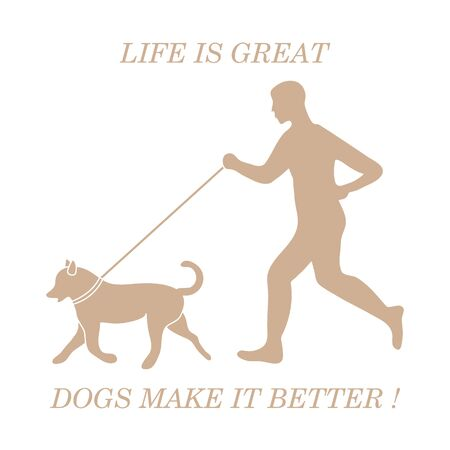Silhouette of man jogging with dog on leash. Design element for postcard, banner, flyer.