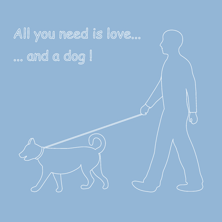 every day: Silhouette of a man walking a dog on a leash. Label for pet shop. Design element for postcard, banner, flyer.