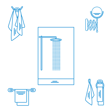 retractable: Set of variety bathroom elements: shower, towels hanging on different holders, mirror. Design for poster or print.