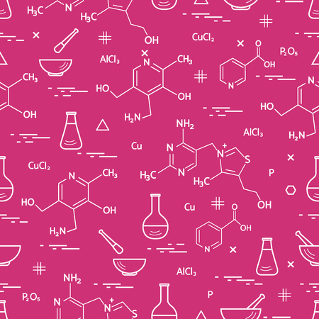 exploring: Seamless pattern with variety scientific, education elements: flask, formula, pestle and other. Design for banner, poster or print.