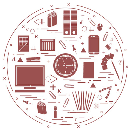 paper pin: Set of different office objects arranged in a circle. Including icons of paper clips, buttons, pencils, glue, monitor, clock and other on white background.