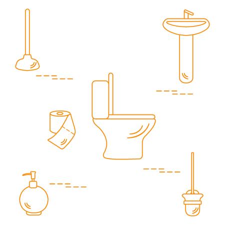 sink drain: Vector illustration with toilet bowl, washbasin, toilet paper, soap dispenser, plunger, brush for toilet bowl. Design for poster or print.