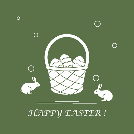 family holiday: Cute vector illustration with symbols for Easter. Design for banner, poster or print.
