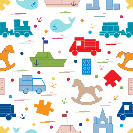 connection block: Vector illustration kids toys objects: train, puzzle, designer, boat, car, whale and other. Design element for postcard, banner, flyer, invitations, textiles or print.