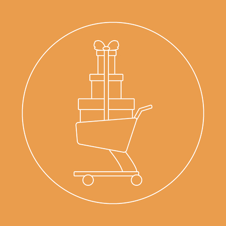 Stylized icon of shopping cart with gifts. Design for banner, poster or print. Illustration