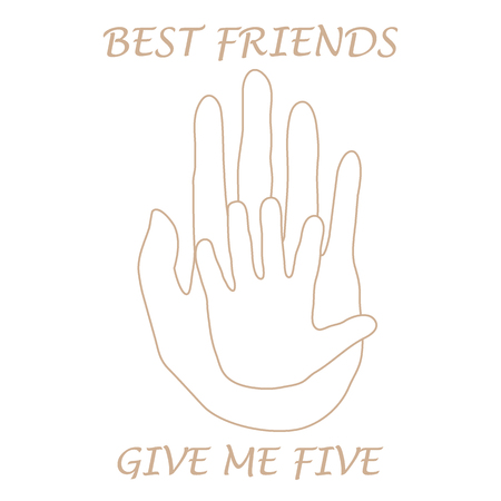 give: Cute vector illustration of  two hands adult and child giving a five. Friends forever. Design for banner, poster or print. Illustration