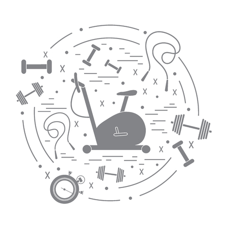 hand with dumbbell: Vector illustration of different kinds of sports equipment arranged in a circle. Including icons of skipping rope, stopwatch, exercise bike, dumbbells. Isolated elements on white background. Illustration
