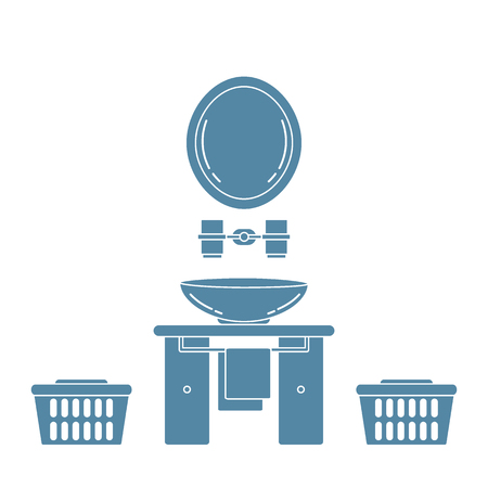 washbowl: Cute vector illustration with variety bathroom elements: mirror, stand for glasses, washbasin, towel, towel holder, laundry baskets. Design for poster or print.