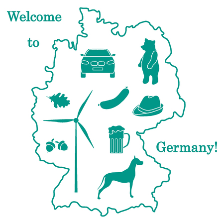 great dane: Vector illustration with various symbols of Germany. Travel and leisure. Design for banner, poster or print. Illustration