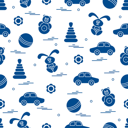 continue: Vector pattern of different toys: car, pyramid, roly-poly, ball, hare, rattle. Design element for postcard, banner, flyer, poster or print.