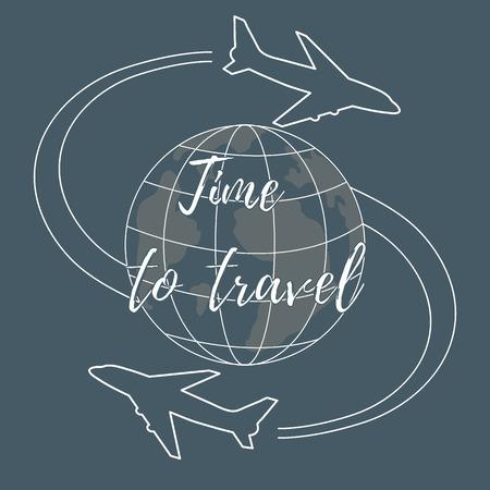 Nette Vektor-Illustration von Flugzeugen fliegen rund um den Globus. Design für Poster oder Druck. Standard-Bild - 80279167