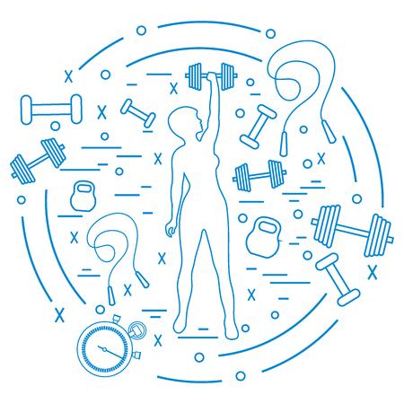 Illustration vectorielle mignon de femme athlétique de remise en forme détient kettlebell, haltère, chronomètre, sauter à la corde. Formation corps féminin. Conception pour la bannière, l'affiche ou l'impression.