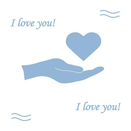 give: Cute vector illustration: hand holds heart. Love symbol. Design for banner, flyer, poster or print. Illustration