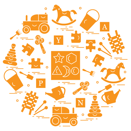 Cute vector illustration with variety of childrens toys arranged in a circle.  Rocking horse, cubes, rattle, pyramid, sorter and other. Design for poster or print.