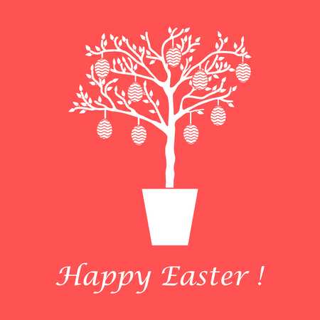 family holiday: Cute vector illustration with Easter eggs decorated tree. Design for banner, poster or print.