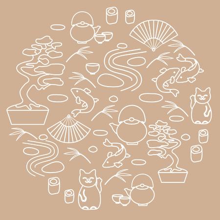 japanese tea garden: Cute vector illustration with bonsai tree, minimal rock garden, japanese lucky cat Maneki Neko, carp koi and other arranged in a circle. Travel and leisure. Illustration