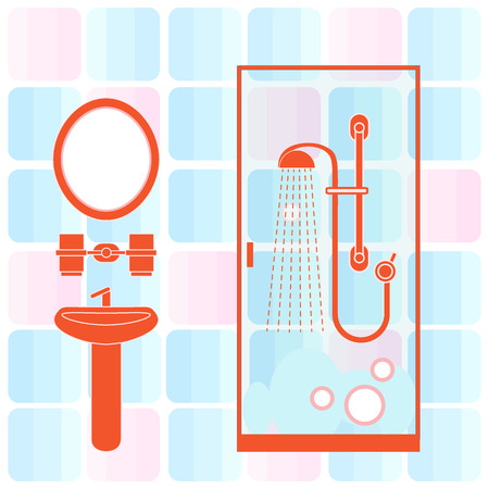 Cute vector illustration of bathroom interior design: shower cabin, washbasin, mirror and other. Design for poster or print.