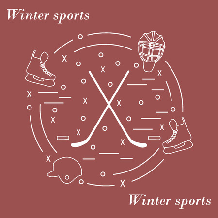 Vector illustration of various subjects for hockey arranged in a circle. Including icons of helmet, skates, goalkeeper mask, stick, puck. Winter elements made in line style.
