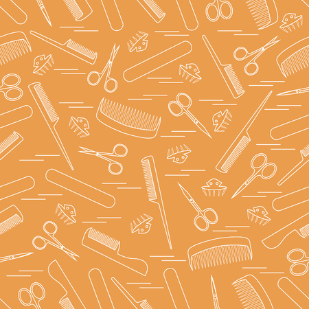 grooming: Cute pattern of scissors for manicure and pedicure, combs, nail file, barrettes. Design for banner, flyer, poster or print.