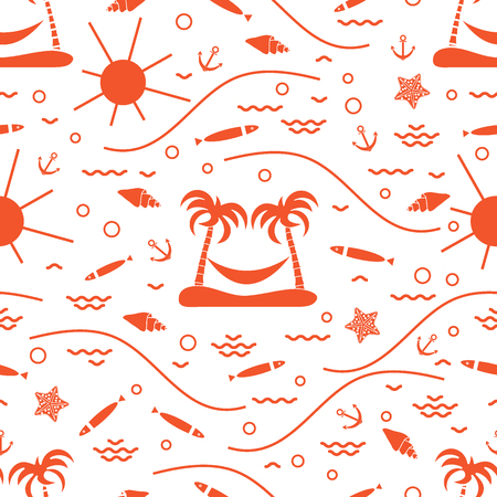 Cute seamless pattern with fish, island with palm trees and a hammock, anchor, sun, waves, seashells, starfish. Design for banner, poster or print.