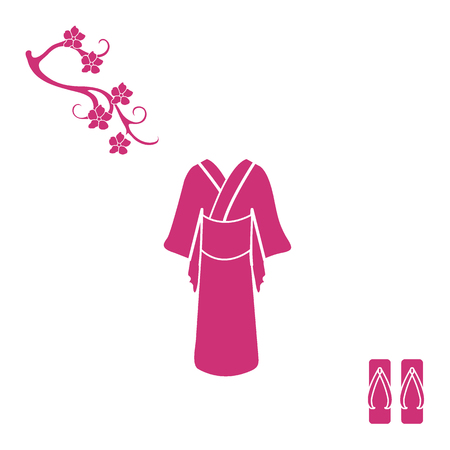 Cute illustration of branch of cherry blossoms and traditional japanese clothing and shoes. Set of Japan traditional design elements. Illustration