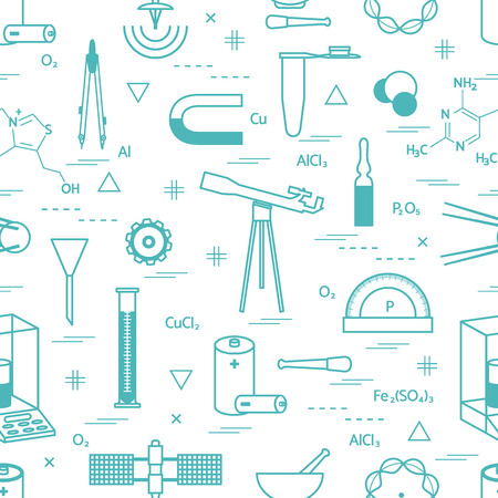 pounder: Seamless pattern with variety scientific, education elements: dividers, formula, test-tube, satellites, batteries and other. Design for banner, poster or print. Illustration