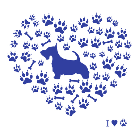 Nice picture of scotch terrier silhouette on a background of dog tracks and bones in the form of heart on a white background.