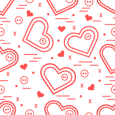 Cute seamless pattern with needle cases and buttons. Greeting card Valentine's Day. Design for banner, flyer, poster or print. Illustration