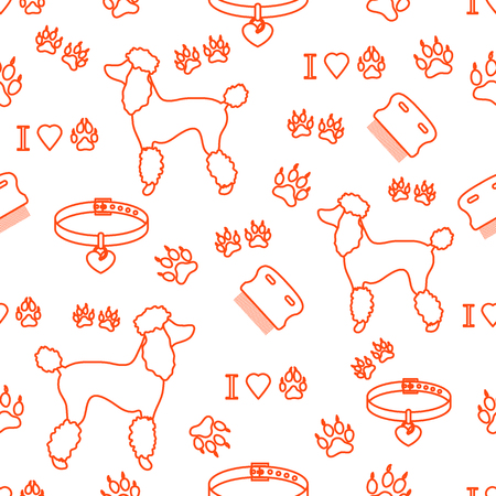 Seamless pattern with poodle silhouette, comb, collar, dog tracks and hearts. Design for banner, poster or print.