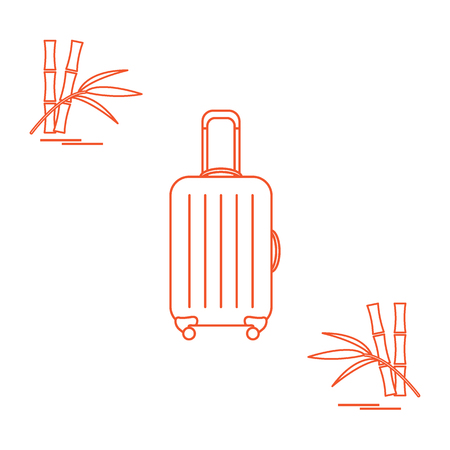 Vector illustration of suitcase for travel and bamboo. Summer time, vacation. Design for banner, poster or print. Illustration
