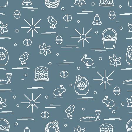 Leuk naadloos patroon met verschillende symbolen voor Pasen. Ontwerp voor banner, poster of print.