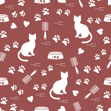 silueta de gato: Nice pattern of silhouette sitting cat, traces, hearts, bowl and comb need for cat hair. Design for banner, flyer, poster or print. Vectores