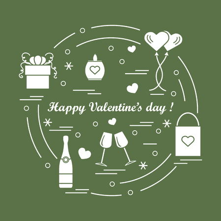 Cute vector illustration: gifts, balloons, stemware, candle, bag, bottle with hearts and snowflakes arranged in a circle. Design for banner, flyer, poster or print.