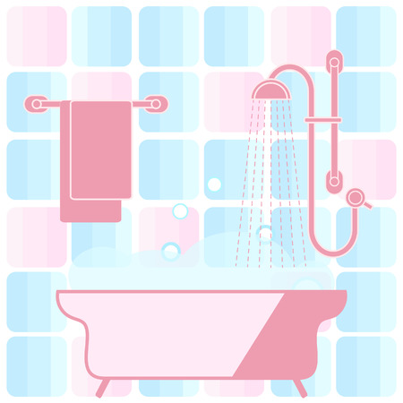 hangers: Cute vector illustration of variety bathroom elements: shower, bath with foam, soap bubbles,  towel hanging on holders, bathroom tiles. Design for poster or print.