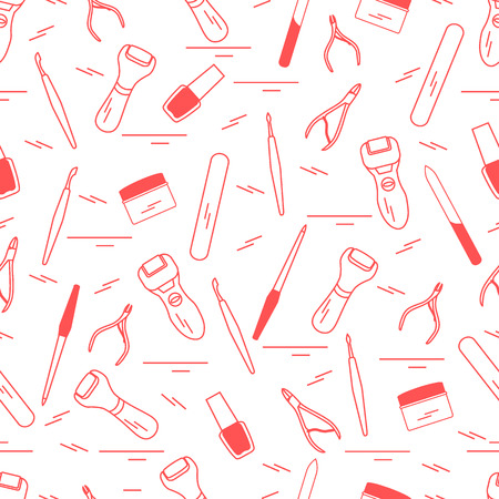 cuticle: Seamless pattern with variety tools for manicure and pedicure. Personal care. Design for banner, poster or print.