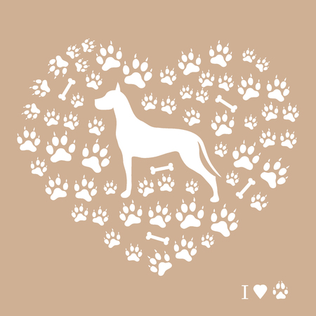 great dane: Nice picture of great dane silhouette on a background of dog tracks and bones in the form of heart on a colored background. Illustration