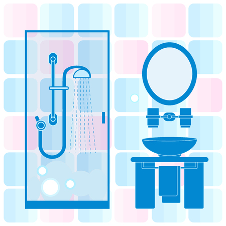washbowl: Cute vector illustration of bathroom interior design: shower cabin, washbasin, towel, mirror and other. Design for poster or print. Illustration