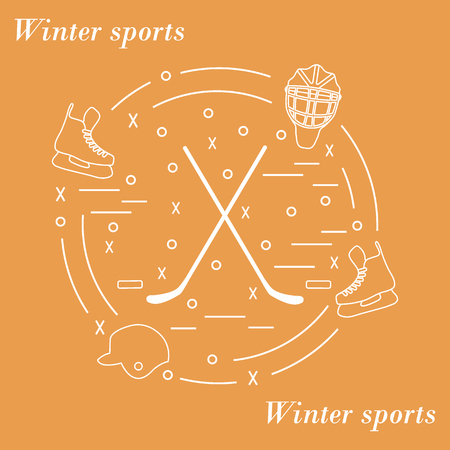 brassy: Vector illustration of various subjects for hockey arranged in a circle. Including icons of helmet, skates, goalkeeper mask, stick, puck. Winter elements made in line style.