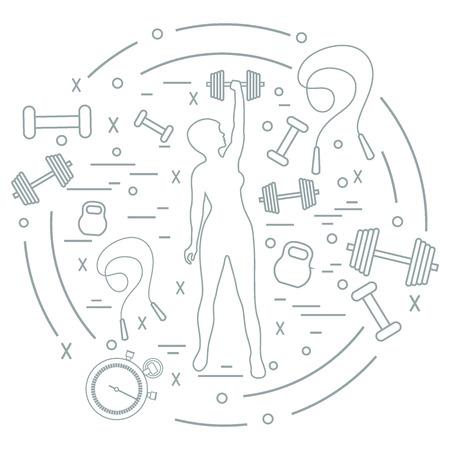 Cute vector illustration of fitness athletic woman holds kettlebell, dumbbell, stopwatch, skipping rope. Training female body. Design for banner, poster or print. Illustration