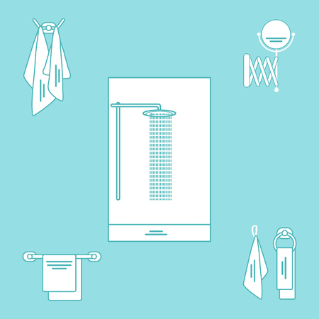 cleanliness: Set of variety bathroom elements: shower, towels hanging on different holders, mirror. Design for poster or print.