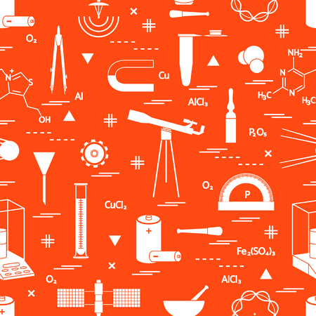 exploring: Seamless pattern with variety scientific, education elements: dividers, formula, test-tube, satellites, batteries and other. Design for banner, poster or print. Illustration