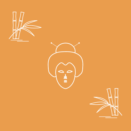 Stylized icon of japanese woman face and bamboo. Travel and leisure. Design for banner, poster or print.