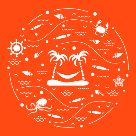 water wave: Cute vector illustration with octopus, fish, island with palm trees and a hammock, helm, waves, seashells, starfish, crab arranged in a circle. Design for banner, poster or print. Illustration