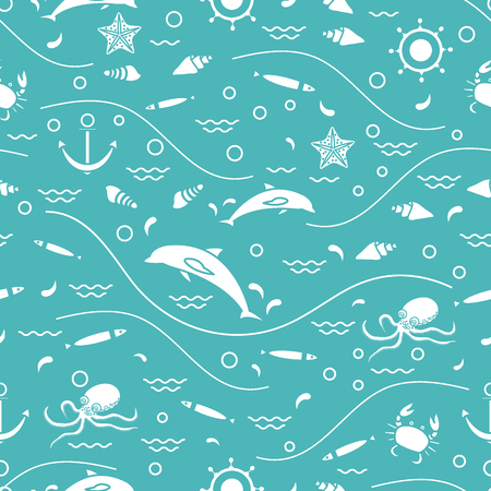 water wave: Cute seamless pattern with dolphins, octopus, fish, anchor, helm, waves, seashells, starfish, crab. Design for banner, poster or print.