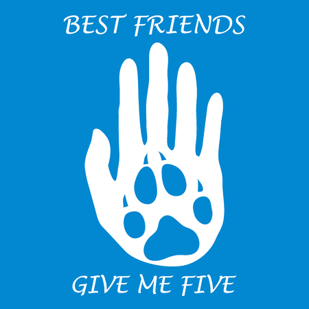 companion: Cute vector illustration of human hand silhouette holding paw of dog. Friends forever. Give me five. Design for banner, poster or print. Illustration