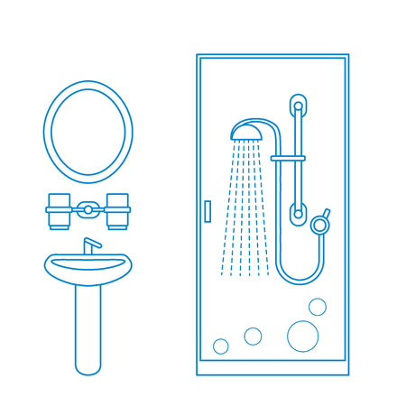 retractable: Cute vector illustration of bathroom interior design: shower cabin, washbasin, mirror and other. Design for poster or print.